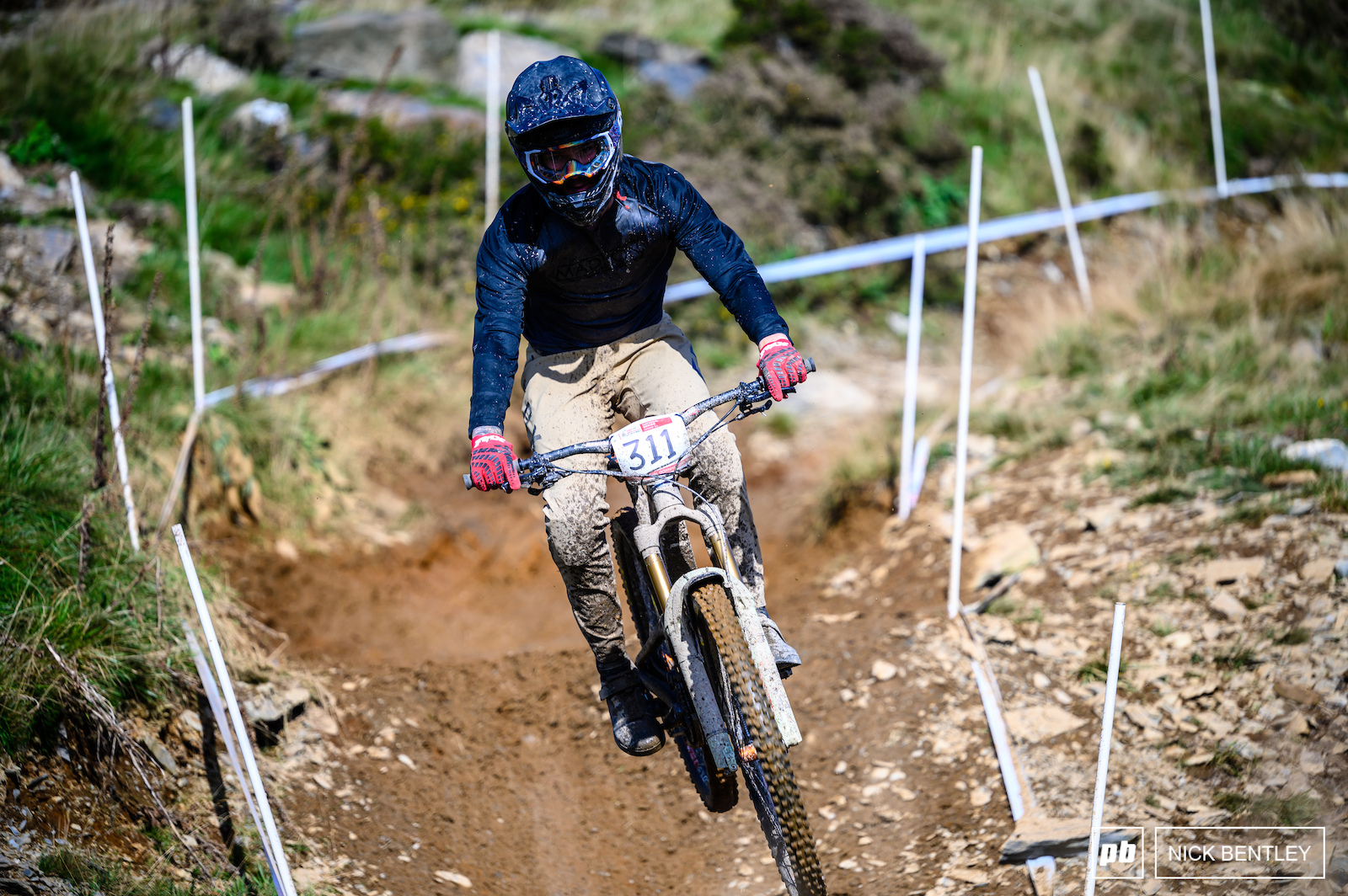 Chubbie Hammond on his way to second place in the Senior Field pushing hard on his enduro bike