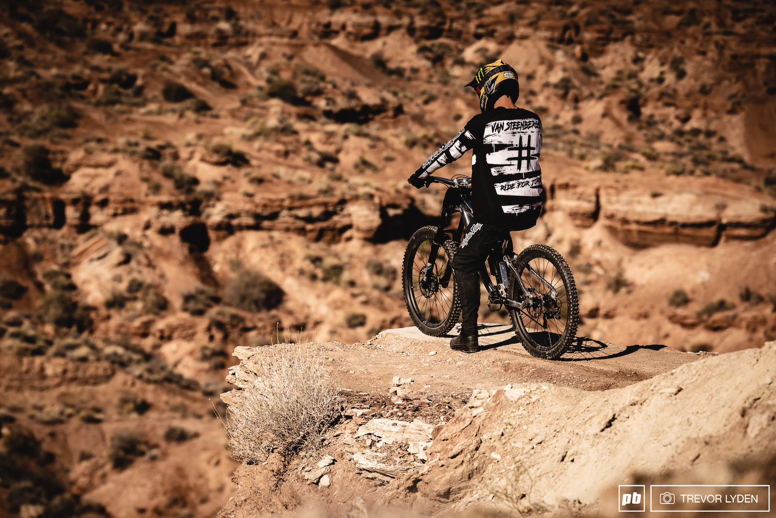 Tom Van Steenbergen eying the big stepdown at the end of his line.