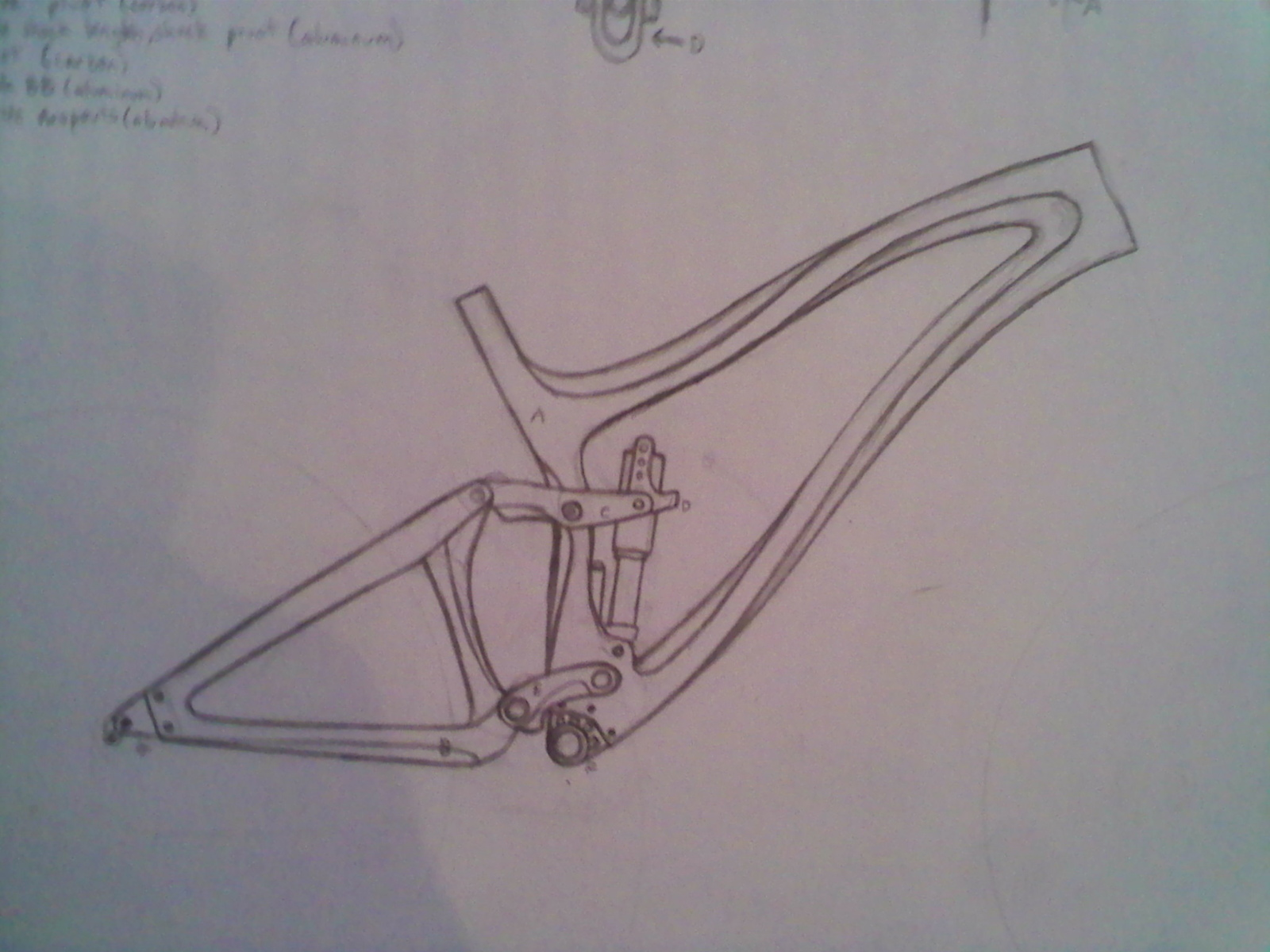 this is mainly just putting the idea to paper so i dont forget parts of it. its not to scale, and the pivots are just a general layout of the angles and lengths i want. Most of my thought has gone into the bends and creases in the carbon fiber of the main triangle in the interest of spreading compression, pulling, twisting forces into stronger more flexible areas of the frame, aswell as the direction of force from the pivots and shock mounts. i haven't finished the rear triangle yet this is a general shape of it.