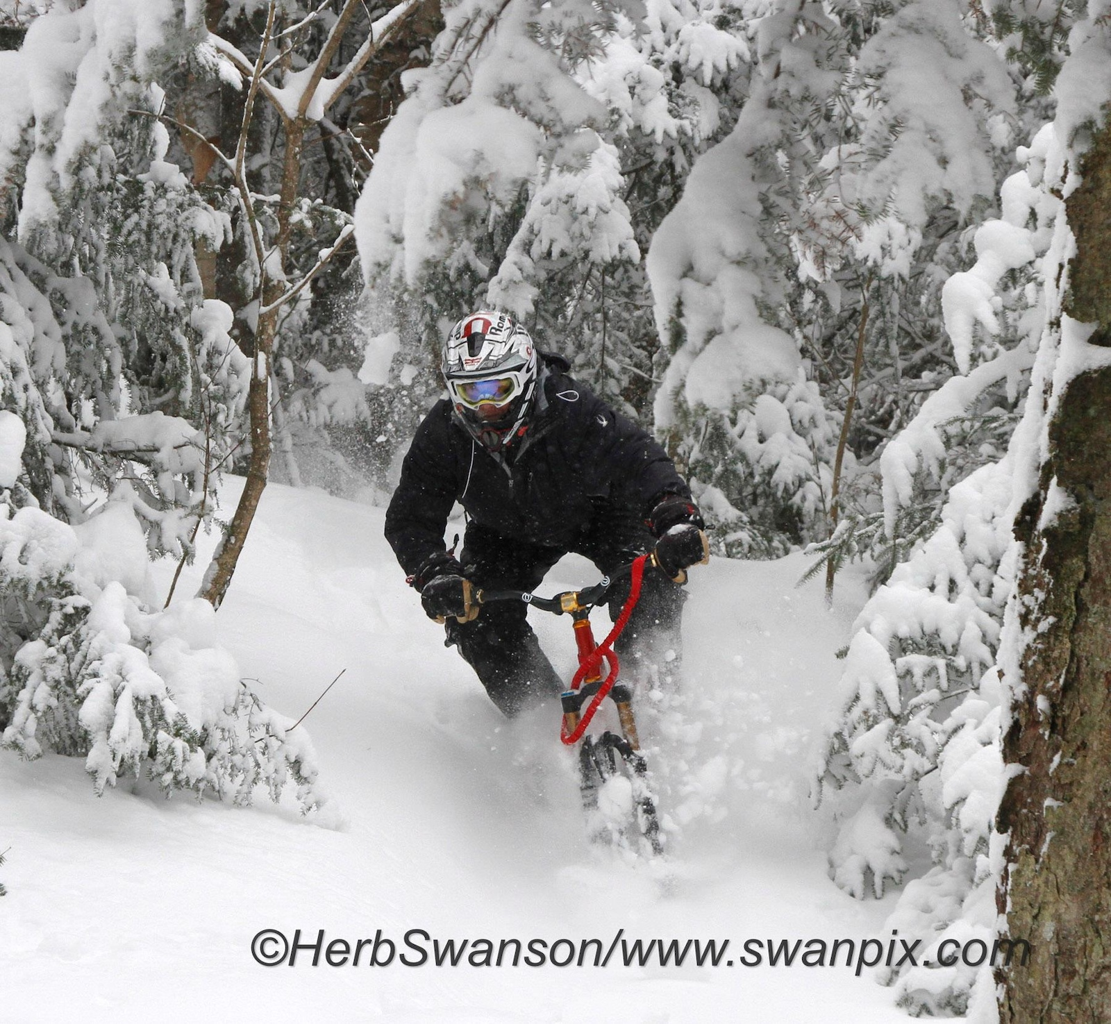 Riding at Burke Mountain on a powder day. Lenzsport Launch ski bike with Cyndrome Romp BC skis. Rideromp.com