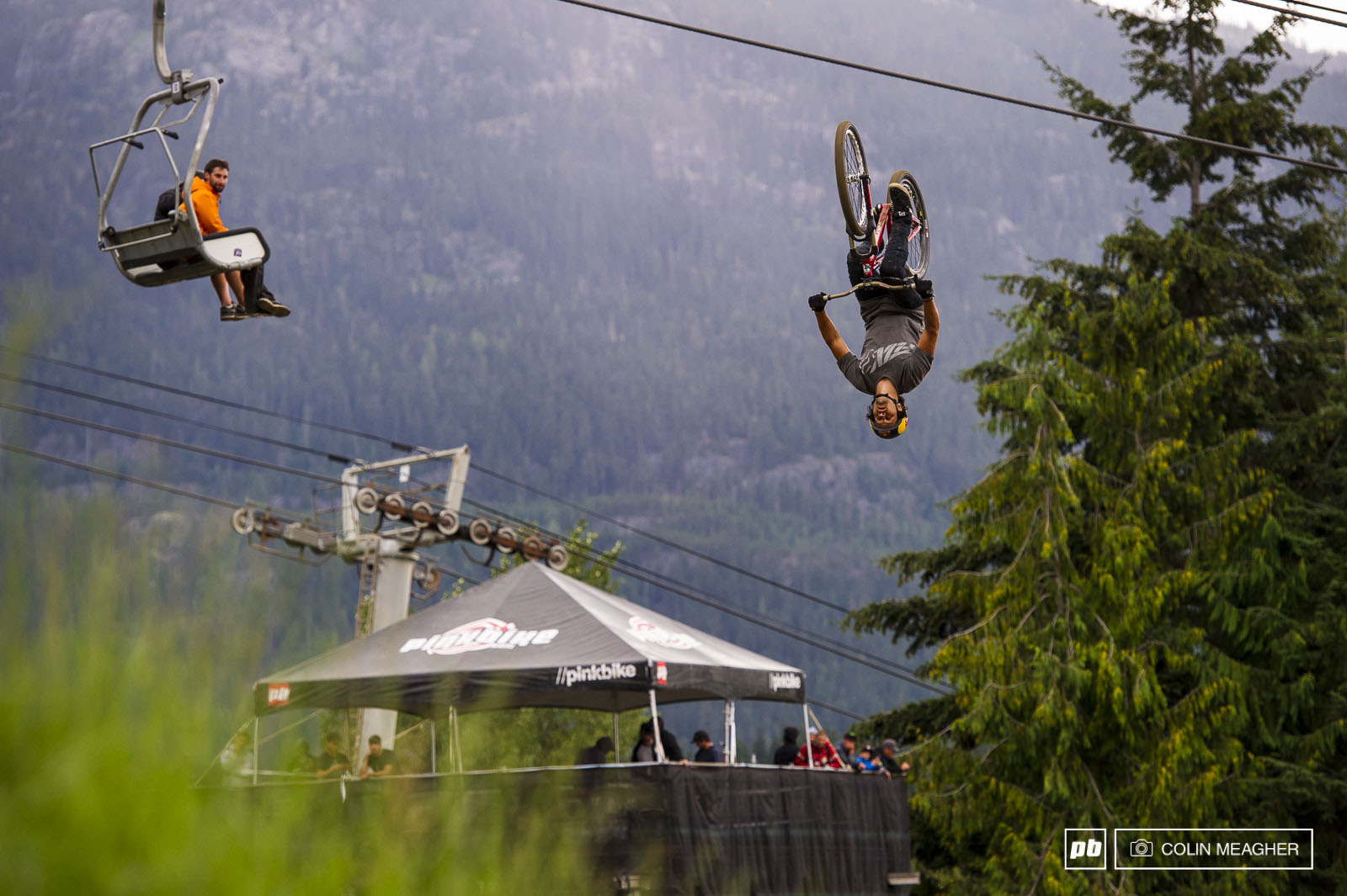 Yannick Granieri getting inverted in practice before the Joyride.